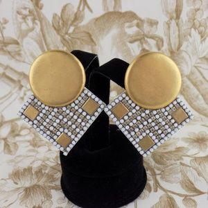 1980s Roxanne Assoulin Rhinestone Clip On earrings